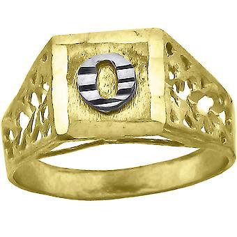 10k Two tone Gold baby voor jongens of meisjesLetter Naam Gepersonaliseerde Monogram Initial O Band Ring Measures 6.6x3.50mm Wide S