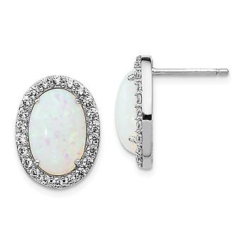 12mm Cheryl M 925 Sterling Silver Cubic Zirconia and Simulated Opal Post Earrings Jewelry Gifts for Women