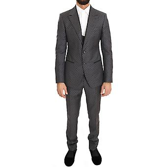Dolce & Gabbana Grijze Polka Dotted Slim Fit 3 Piece Suit