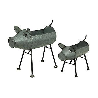Galvanized Metal Set of 2 Indoor/Outdoor Pig Planter Sculptures