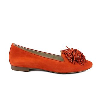 Paul Green 2376-10 Orange Velour Suede Leather Womens Slip On Shoes