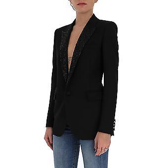 Saint Laurent 619429y512w1000 Women's Black Wool Blazer