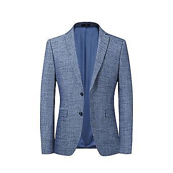 Allthemen Férfi's 2 gomb sport kabát egyszínű, karcsú fit öltöny kabát világoskék