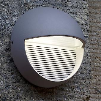 Lutec RADIUS-ronde 9W exterieur LED laag niveau Wall Light of stap Light In grafiet