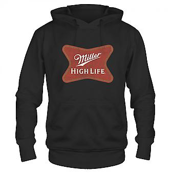 Miller High Life Beer Faded Label Black Hoodie