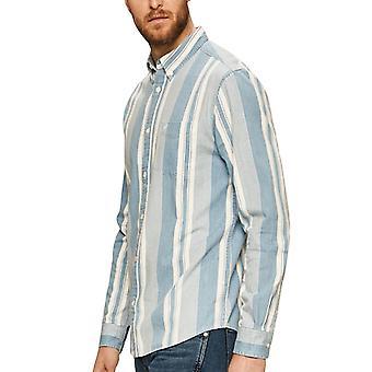 Wrangler Mens Lange Mouw 1 Pocket Button Down Gestreept Shirt Top - Indigo