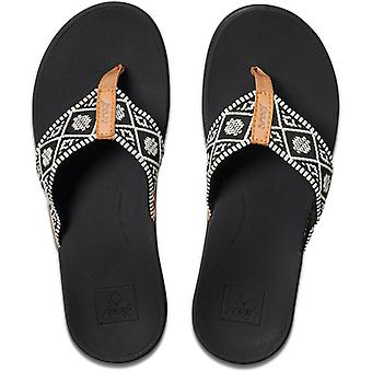 Reef Ortho-Bounce Woven Flip Flops in Black/White