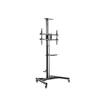Commercial Series Premium Mobile Tilt TV Wall Mount Bracket Stand Cart with Media Shelf Bracket  For TVs 37in to 70in  Max Weight 110lbs  Rotating  Height Adjustable w/ VESA up to 600x400 by Monoprice