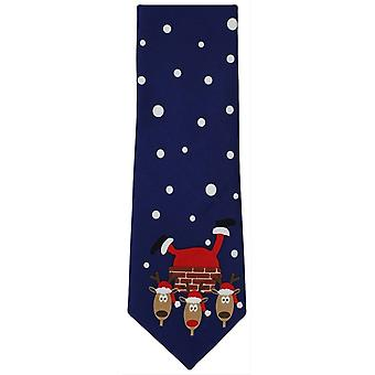 Michelsons of London Father Christmas Chimney Scene Polyester Tie - Navy/Red