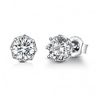 Silver Earrings Round Shining - 6556