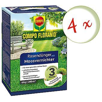 Disperso: 4 x COMPO Floranid® fertilizante de césped con matas de musgo, 6 kg