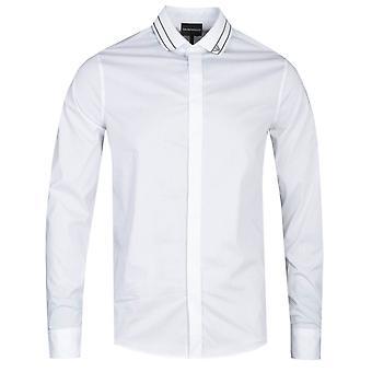 Emporio Armani Slim Fit Branded Collar Long Sleeve Camicia Bianca