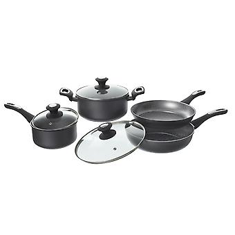 Set Iron Stone Pots Grey Color in Carbon Steel, Saucepan L21xP21xA9 cm, Starter L24xP24xA6 cm, Saucepan L17xP17xA7.5 cm, Pot L24xP24xA5 cm, Lid L21xP21xA1 cm, Lid L24xP24xA1 cm, Lid L17xP17xA1 cm