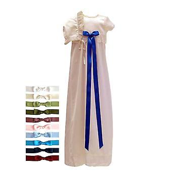Christening Gown With Short Sleeve And Bonnet, 10 Free Choice Of Bow,  Sess.ka