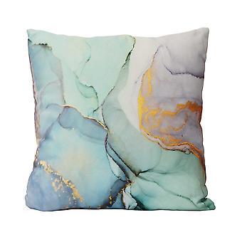 Pastelli vesiväri marmori puuvilla neliö tyyny