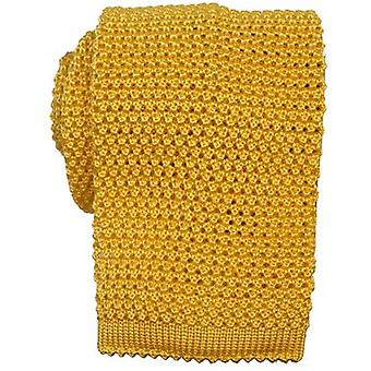 KJ Beckett Knitted Silk Tie - Yellow