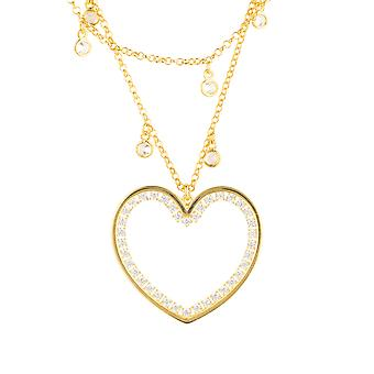 Large Yellow Love Heart Bridal Jewellery Gold Double Strand Choker Necklace
