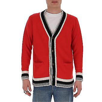 Ballantyne Quk0917c02592026 Heren's Red Cotton Cardigan