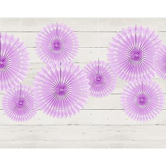 3 Lavender Assorted Size Hanging Tissue Paper Party Fans