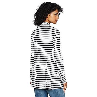 Brand - Daily Ritual Women's Jersey Mock-Neck Swing Tunic, White-Navy Stripe, Small