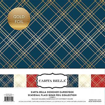 Carta Bella Seasonal Plaid 12x12 Inch Gold Foil Collection