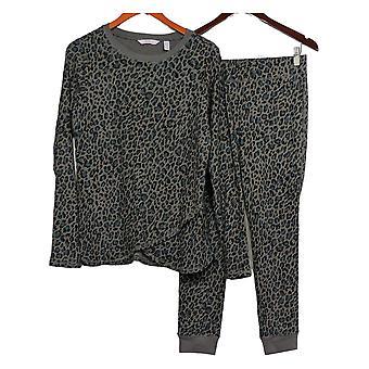 AnyBody Women's PJ Set Petite Cozy Knit Waffle Printed Gray A345788