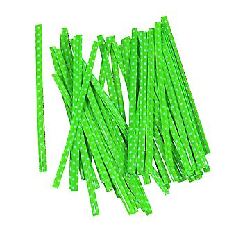 100PCS Gift Bag Sealing Wire Twist Ties Green 10cm