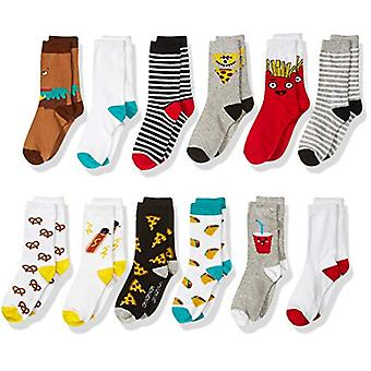 Brand - Spotted Zebra Kids' 12-Pack Crew Socks, Fast Food, Medium (1-3)