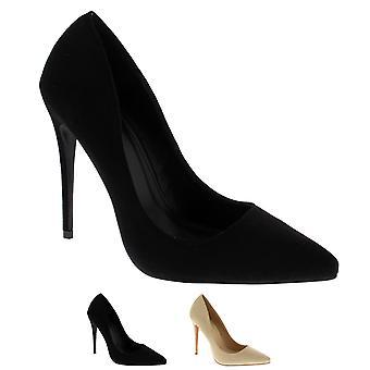 Womens elegante puntige Teen Fashion Stiletto chique pompen Hof schoenen hakken UK 3-10