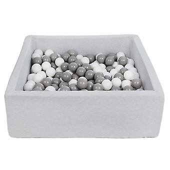 Vierkante ballenbak 90x90 cm met 200 ballen wit & grijs