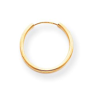14k Yellow Gold Hollow Polished Endless Hoop Earrings Measures 15x15mm Jewelry Gifts for Women