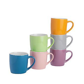 Argon Bordservice Tea Kaffe Krus - 6pc Contemporary Farvet Keramisk Cups Set - 350ml - Sommer Fields