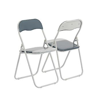 Cool Grey / White Padded, Folding, Desk Chair - Pack of 6