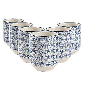 Nicola Spring Set of 6 Hand Printed Porcelain Mugs - Japanese Style Print - 280ml - Blue