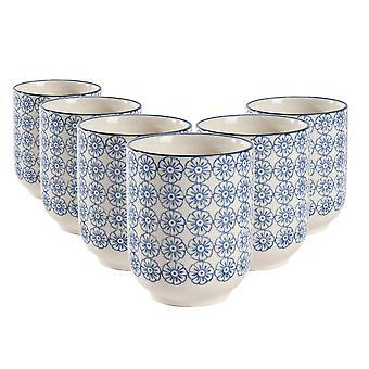 Nicola Frühling Set von 6 Hand gedruckt Porzellan Tassen - japanischen Stil Druck - 280ml - blau