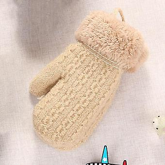 Warm Knitted Cute Thick Knit Mittens Patchwork Outdoor Wool Gloves For Toddler