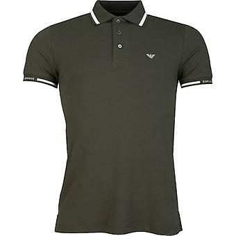Armani Tipped Sleeve Logo Polo Shirt