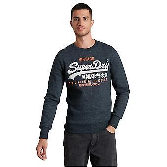 Superdry Vintage Logo Tri Crew Neck Sweatshirt Navy 65