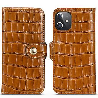 Para iPhone 12 mini caso de cuero genuino cocodrilo textura cartera cubierta marrón
