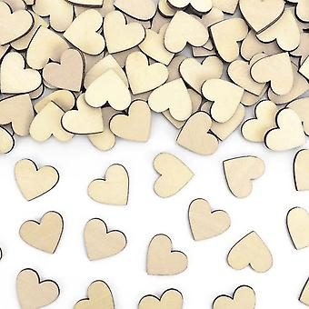 Wooden Table Heart Confetti Scatters Decoration 50 Pieces
