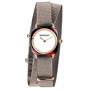 Briston Clubmaster Lady Acetate Double Wrap Watch - Taupe/White/Rose Gold