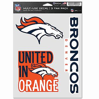 NFL ملصقا متعددة الاستخدام 3 تعيين 20x15cm - دنفر برونكوس