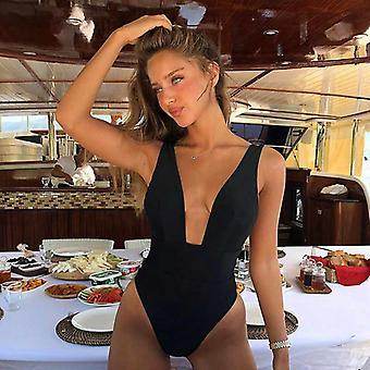 Kvinder Badetøj Bodysuit, Push Up Monokini Halter Cross Badetøj
