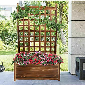115cm Tall Wooden Garden Raised Bed Climbing Rattan Frame Grid Fence Planter Box