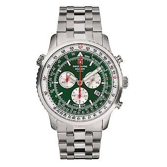 Schweiziska alpina militära mäns klocka kronograf Analoga kvarts 7078.9134SAM rostfritt stål
