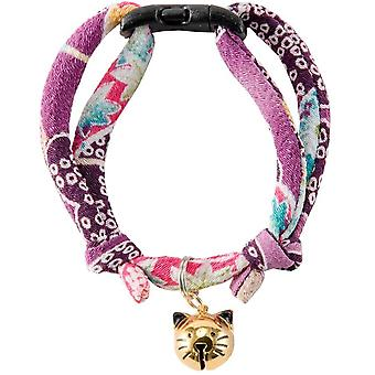 NECOICHI Japanese chirimen fabric Hanabi Fireworks cat collar (Purple)