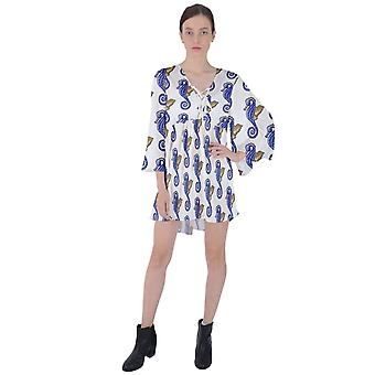 Konie morskie Flary z rękawem mini sukienka