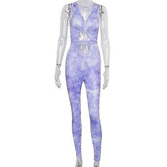 Tie Dye Hollow Out Women Long Jumpsuit