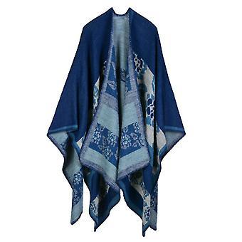 Women's Autumn And Winter Plus Size Flowers Navy Blue Warm Scarf Blanket Shawl