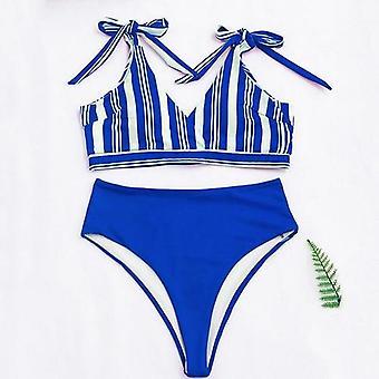 Pruhované bikiny s vysokým pásom Nastaviť Push Up Plavky